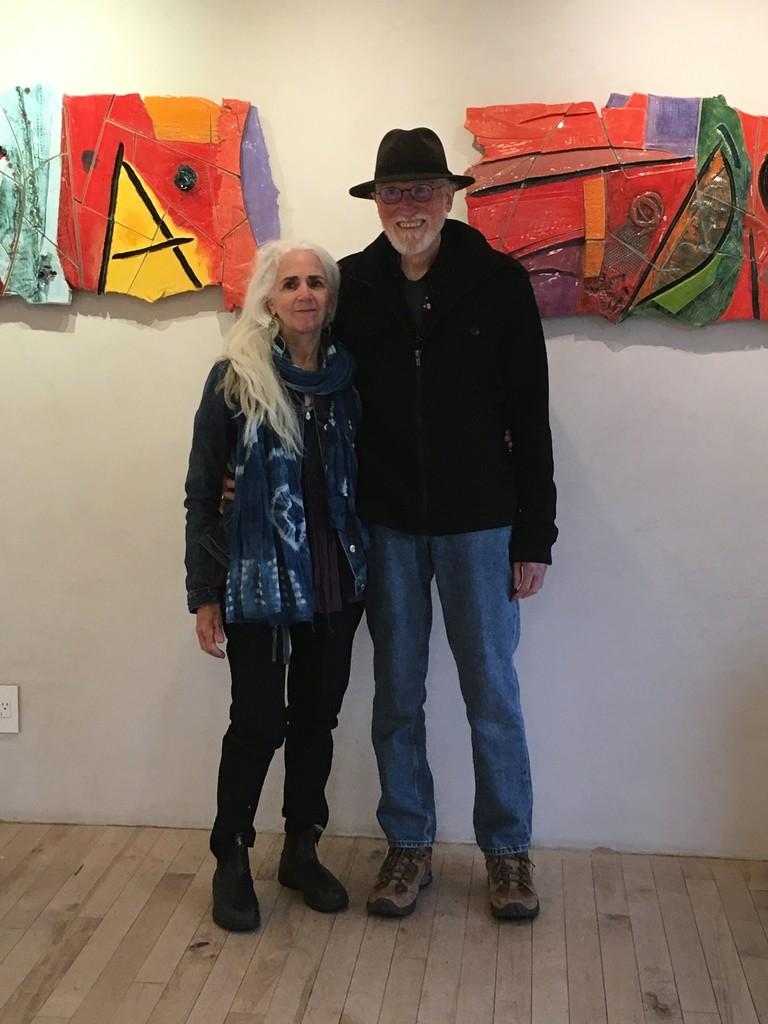 """Vancouver artist Robert Bigelow and his wife Marie Arcand at the opening reception of """"Beyond the Far Side"""" exhibition at ARTE funktional in Kelowna BC Canada - Sept.22, 2018"""