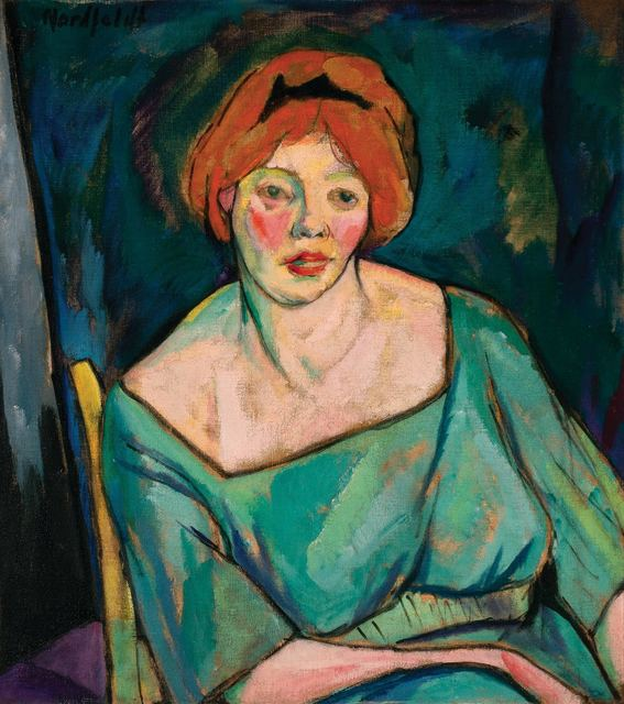 Bror Julius Olsson Nordfeldt, 'Portrait of a Woman with Red Hair (Woman with Orange Hair)', circa 1916, Doyle