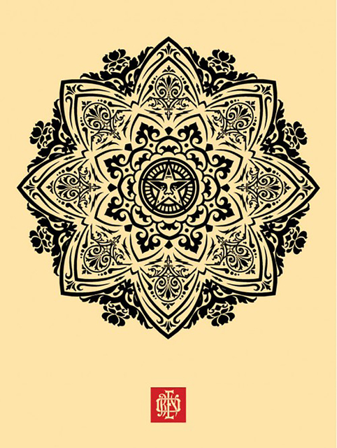 Shepard Fairey, 'Mandala Ornament 1 (Cream)', 2010, Taglialatella Galleries