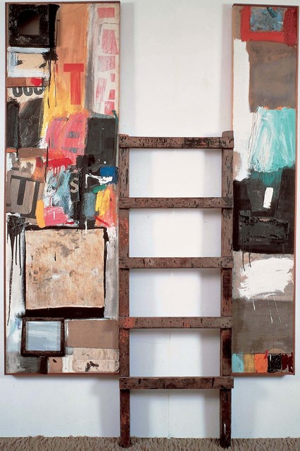 Robert Rauschenberg, 'Winter Pool', 1959, Combine: oil, paper, fabric, wood, metal, sandpaper, tape, printed paper, printed reproductions, handheld bellows, and found painting on two canvases with ladder, Robert Rauschenberg Foundation