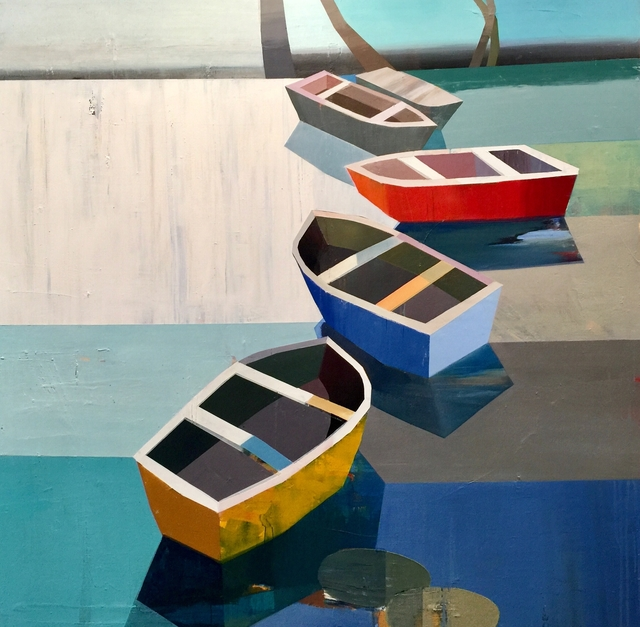 Siddharth Parasnis, 'Boats in the Shallow Water #24', 2018, Painting, Oil, J GO Gallery