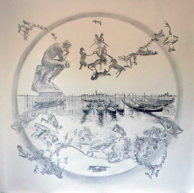David Wheeler, 'The Uncertainty of Being Certain in Uncertain Times (Vision in Venice I)', ca. 2020, Drawing, Collage or other Work on Paper, Pencil on paper, Plus One Gallery
