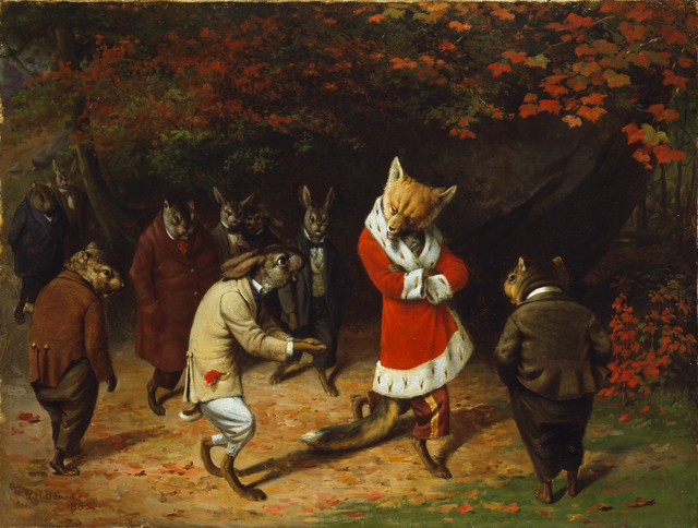 William Holbrook Beard, 'His Majesty Receives', 1885, Indianapolis Museum of Art at Newfields