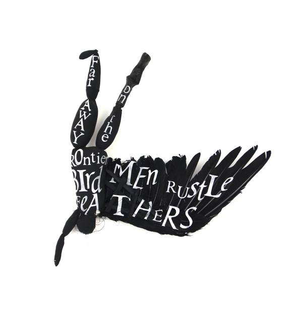 , 'Flying Black Bird Man With White Letters,' 2013, Arthur Roger Gallery