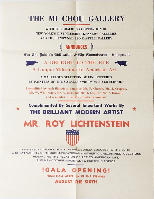 Roy Lichtenstein, 'Mi Chou Gallery', 1962, Alpha 137 Gallery