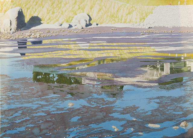 Ben Norris, 'Reflections II [Marin Mud Flat]', 1994, Drawing, Collage or other Work on Paper, Watercolor, Childs Gallery