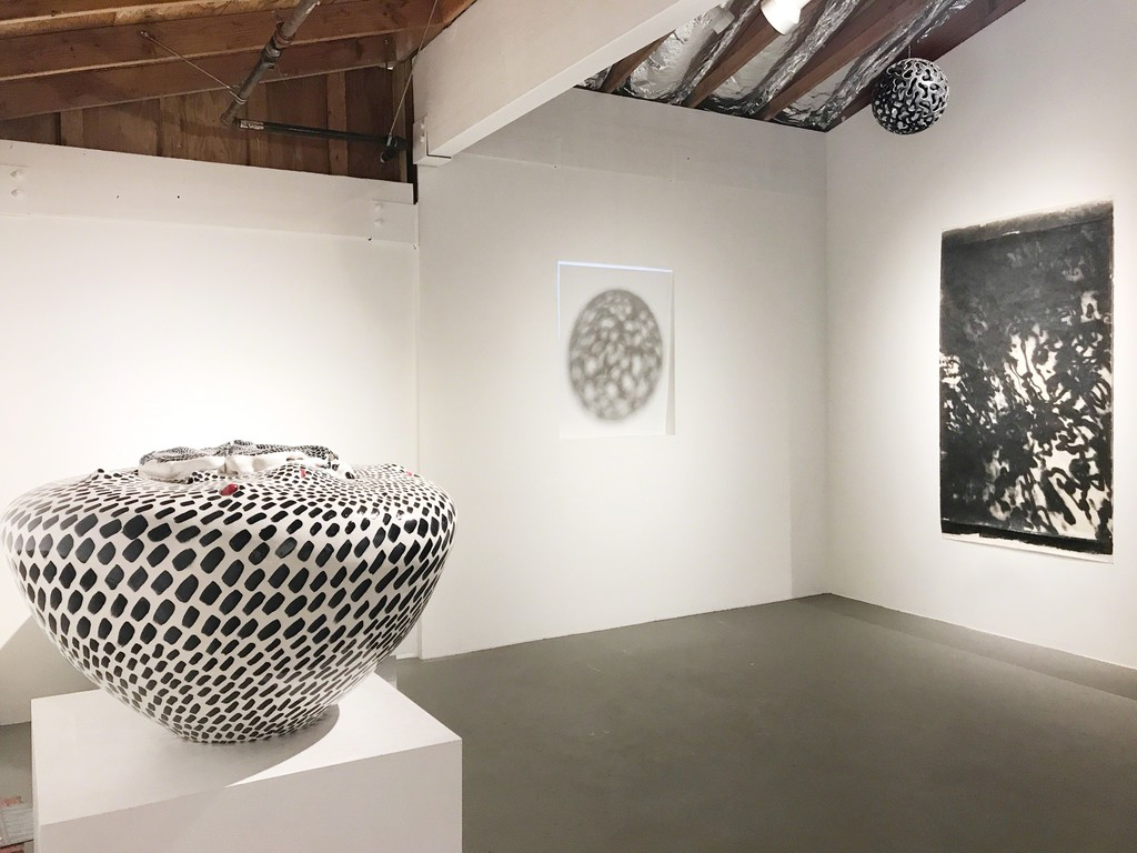 Project room pictured works (left to right): SF Momona by David Kuraoka, Kinetic Light Installation by Chris Atkinson, Octopus Ink No. 5 by Bruna Stude.