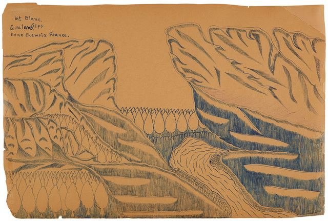 Joseph Yoakum, 'Mt. Blanc. Graian Alps Near Chemoix France', n.d., Drawing, Collage or other Work on Paper, Ink on paper, Cavin-Morris Gallery