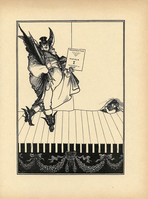 Aubrey Beardsley, 'Second design for the 1895 prospectus for The Savoy, printed in The Later Work of Aubrey Beardsley', ca. 1901, Print, Book page, Heroes Gallery