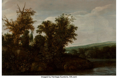 A wooded river landscape with a horseman