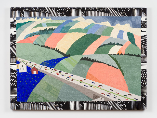 , 'Mrs. Thayer's 'Almy's Turnpike' Needlepoint on Holzhausen Wallpaper (Wharton Esherick),' 2018, Fleisher/Ollman