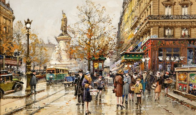 Eugène Galien-Laloue, 'Place de la Republique', ca. 1900, Trinity House Paintings