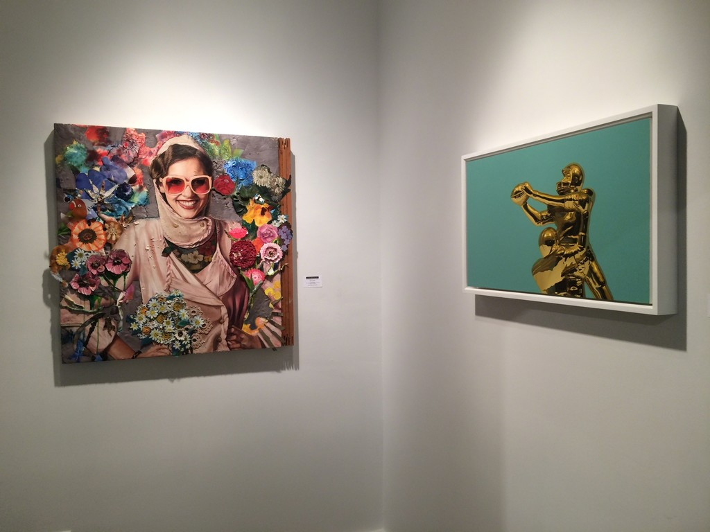 "From left: James Gortner ""Rose Color Glasses"", oil and mixed media on assembled found canvases, Chris Cosnowski ""Tackle"", oil on panel"