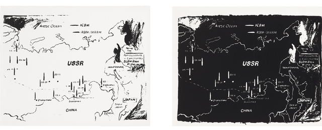 Andy Warhol, 'Map of Eastern USSR Missile Bases 1985-1985 (White) Map of Eastern USSR Missile Bases 1984-1985 (Black)', Allouche Gallery