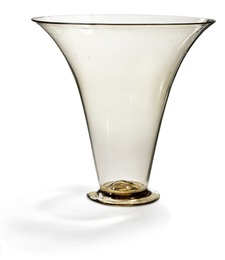 "Large ""Soffiato"" vase of light brown glass."