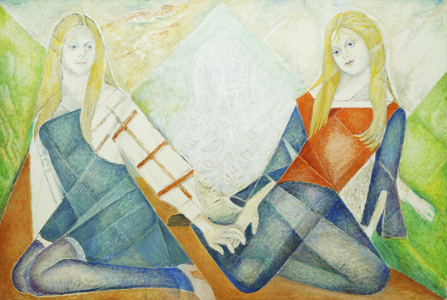 Marie Vorobieff Marevna, 'Twins, seated with the ghost of an Afghan hound', Roseberys