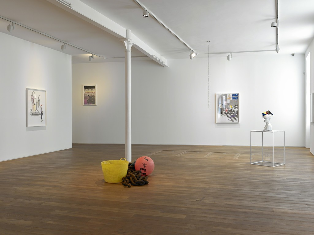 Installation view of Charles Avery's solo exhibition 'The People and Things of Onomatopoeia'