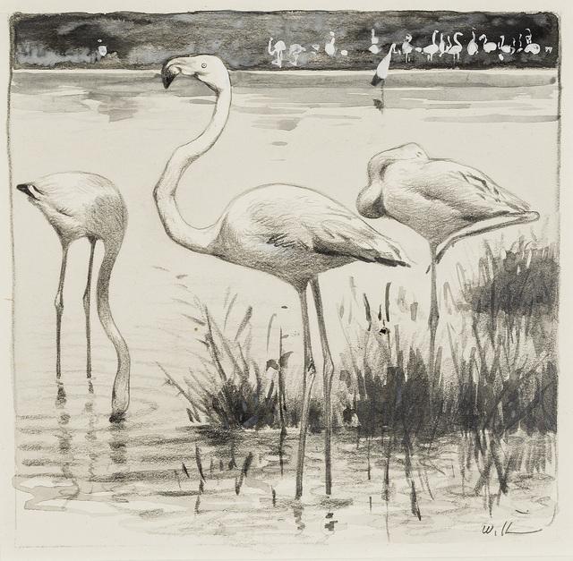 , 'Flamingos,' ca. 1900, Kunkel Fine Art