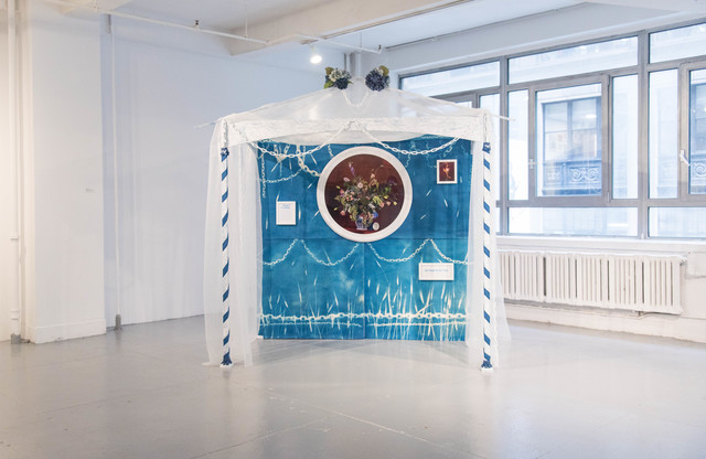 Rachel Stern, 'Pavilion for Red Emma', 2017, Installation, Cyanotype, c-prints, metal, fabric, ribbon, trims, wallpaper, and framed translations of Whitman poems by Paul Legault., EFA Project Space