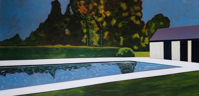 Melissa Chandon, 'Pool with Tree Reflections', 2021, Painting, Acrylic on Canvas, Caldwell Snyder Gallery