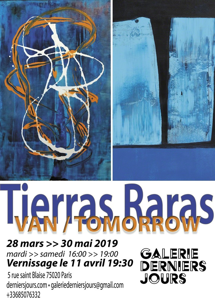 Poster and invitation for opening and visits to Tierras Raras show in DerniersJours gallery