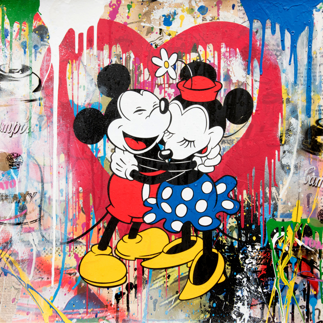 Mr. Brainwash, 'Mickey & Minnie', 2018, Print, Silkscreen and Mixed Media on Paper, Maddox Gallery