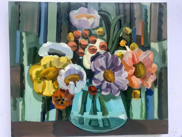 Judith Linhares, 'Peonies', 2009, Painting, Oil on linen, BOMB Magazine Benefit Auction