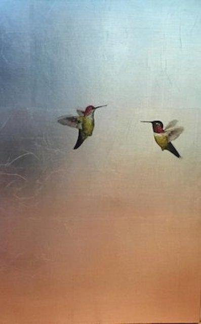 Carolyn Reynolds, 'Soft Rose and Aqua Hummers ', 2018, Dawson Cole Fine Art