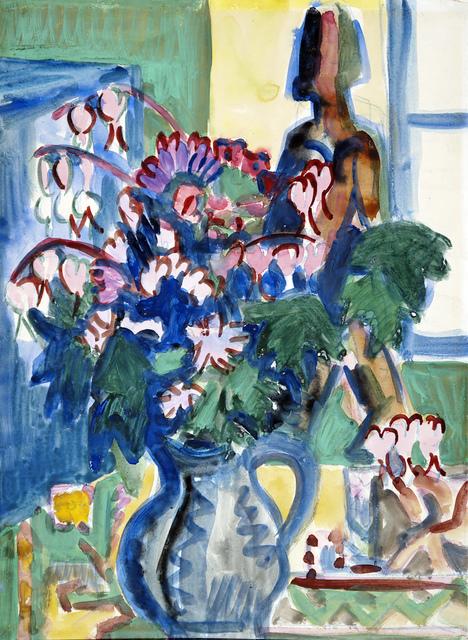 Ernst Ludwig Kirchner, 'Blumenstrauss mit Plastik vor Fenster ', 1925, Henze & Ketterer
