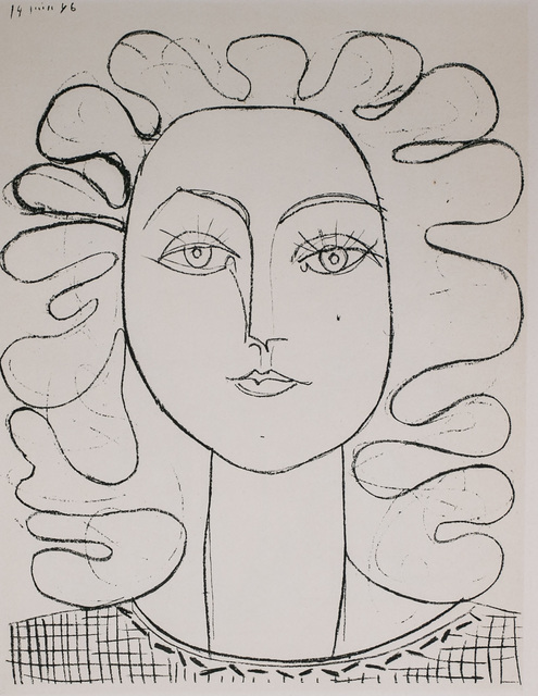 Pablo Picasso, 'Francoise Aux Cheveux Ondules (Francoise with Wavy Hair), 1949 Limited edition Lithogrph by Pablo Picasso', 1949, White Cross