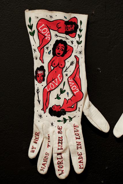 Ellen Greene, 'Love (red girls)', 2018, Painting, Acrylic on vintage gloves, Paradigm Gallery + Studio