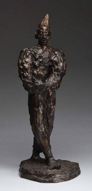 Agnes Yarnall, 'Clown Holding Teddy Bear, Unique Bronze Sculpture', 20th Century, Lions Gallery