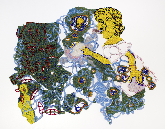 Joyce J. Scott, 'Beaded Graphic Novel: Episodes About a Demon, Green 1', 2019, Goya Contemporary/Goya-Girl Press