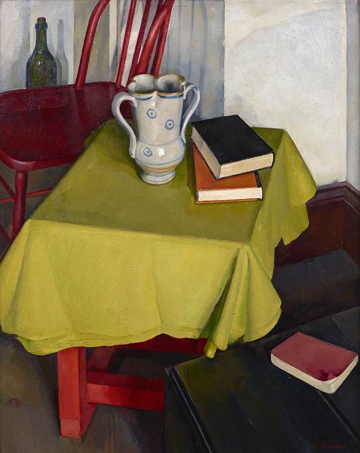Luigi Lucioni, 'The Yellow Tablecloth', 1926-1928, Painting, Oil on board, Debra Force Fine Art