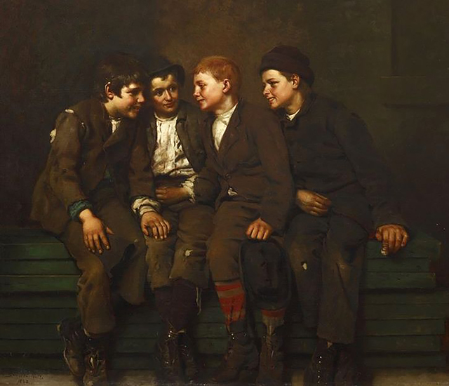 John George Brown, 'The Confab', 1882, The Illustrated Gallery