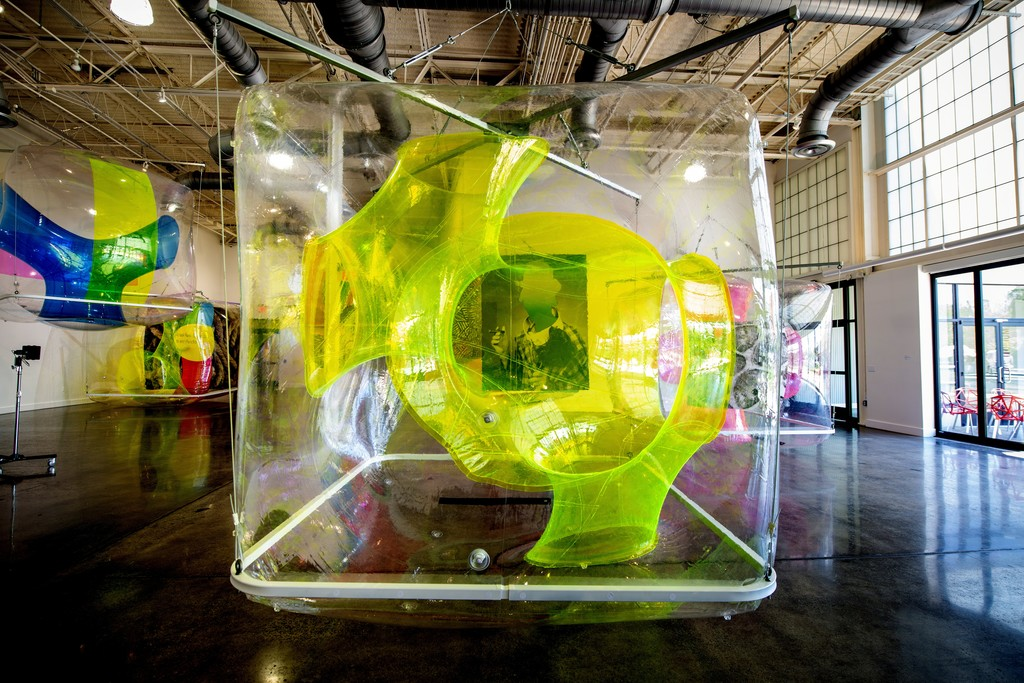 Michael Rees, Synth Cell 006 Gradient Clown, Ant, 2017-18, air-inflated PVC vinyl, ink jet print on vinyl, steel, augmented reality app, 2.4 x 2.4 x 2.4 meters, collection of the artist, photo: Ken Ek; Michael Rees, Synth Cell 003 China Wall, Pig, air-inflated PVC vinyl, ink jet print on vinyl, steel, augmented reality app, 2.4 x 2.4 x 2.4 meters, collection of the artist, photo: Ken Ek; Michael Rees, Synth Cell 013 Rope, Flies, air-inflated PVC vinyl, ink jet print on vinyl, steel, augmented re