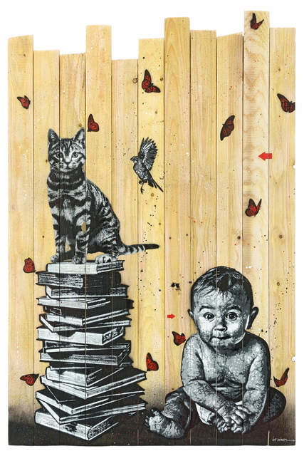 Jef Aérosol, 'BOOKS, CAT, BIRD AND BABY', 2017, David Pluskwa