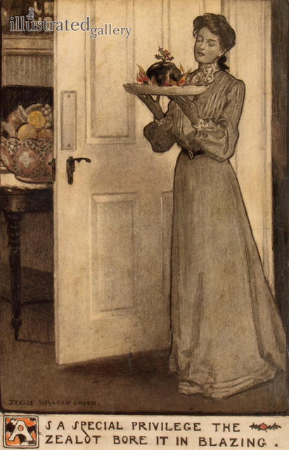 JESSIE WILLCOX SMITH, 'Boy Playing Dress-Up, story illustration', 20th Century, Drawing, Collage or other Work on Paper, Charcoal on Board, The Illustrated Gallery