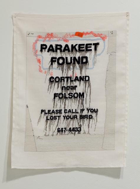 , 'Parakeet Found Cortland near Folsom,' 2010, Anglim Gilbert Gallery