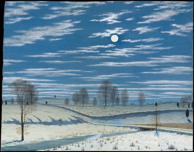 Henry Farrer, 'Winter Scene in Moonlight', 1869, The Metropolitan Museum of Art