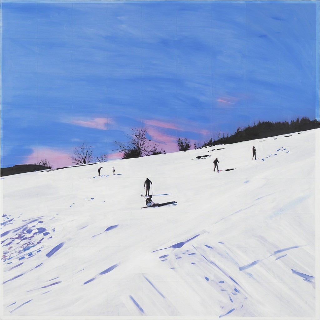 Isca Greenfield-Sanders, Ski Slope, 2018, Mixed Media and Oil on Canvas, 160 x 160 cm