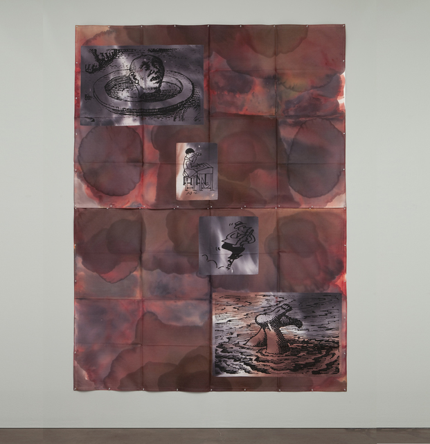 Eugenio Dittborn, 'Heráldica, Airmail Painting No. 156', 2003-2004, Painting, Tincture, photosilkscreen, polygal, and stitching on 2 sections of duck fabric, Alexander and Bonin