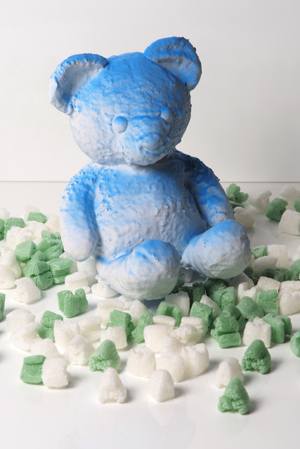 Daniel Arsham, 'Cracked Bear (Blue)', 2018, Sculpture, Sculpture made of pigment, plaster and fabric, Lougher Contemporary