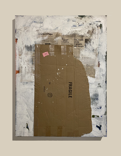 Stephen Lapthisophon, 'Shamus', 2020, Painting, Latex, coffee, collage & ink on canvas, Conduit Gallery