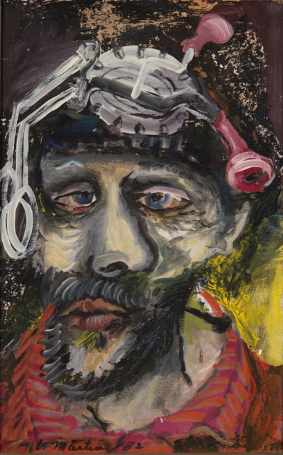 James Martin, 'Untitled (Self Portrait with Eggbeater) ', 1892, Painting, Gouache on paper, Foster/White Gallery