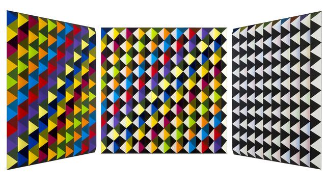 Roland Helmer, 'V76 - bunt, unbunt, hellgelb, diagonal ', 2018, Joerg Heitsch Gallery