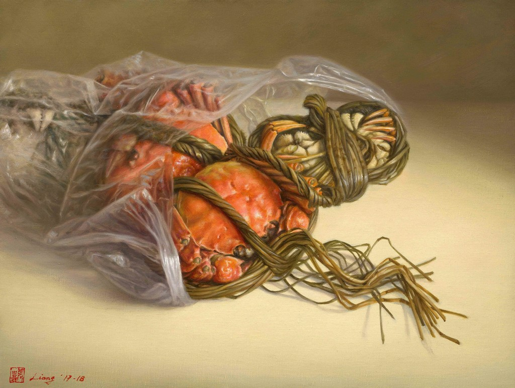 """Crabs"" is a still life painting with seafood.  It is solid big orange clip crab with red on the right side and gray on reverse side. It shows faintly discernible in thick white plastic bag and tied them up with a thick rope. To put those crabs on the table. The artist created a scene that seems to tell you, ""Strong and fresh crabs just buy from fish market and served by good wine and vinegar then it is a wonderful weekend night."""