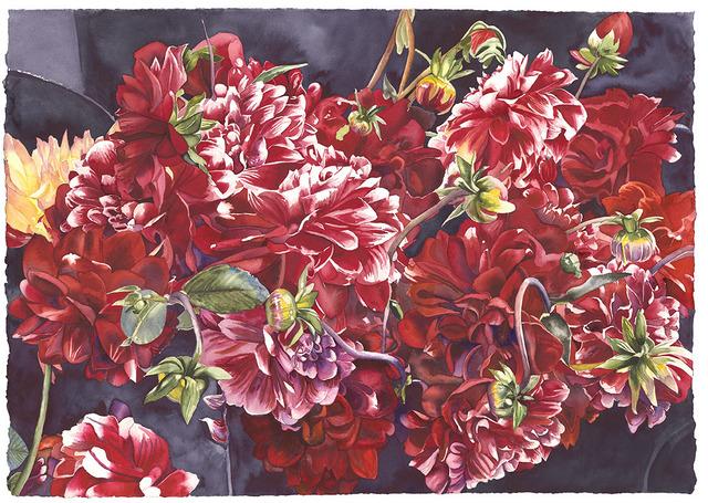 , 'Red Dahlias,' 2018, Wally Workman Gallery