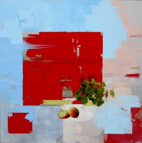 , 'Nasturtium & Apples w/ red, blue & pink,' 2017, InLiquid
