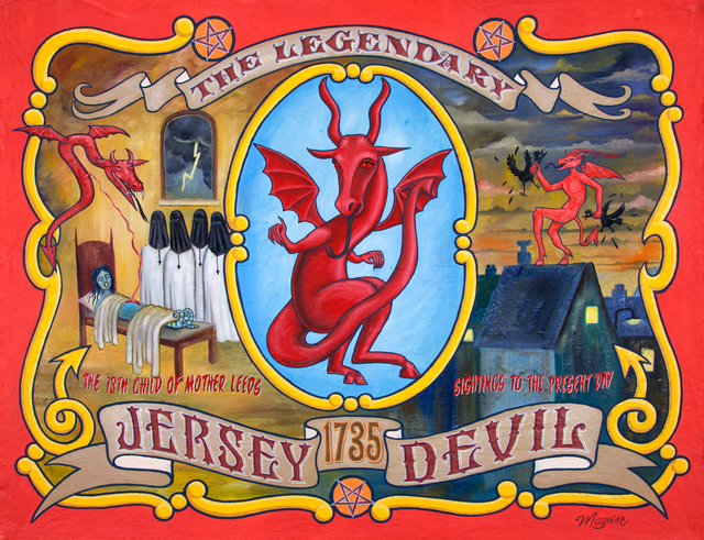 "molly mcguire, '""Jersey Devil""', ca. 2018, Painting, Acrylic on re-purposed canvas, Parlor Gallery"